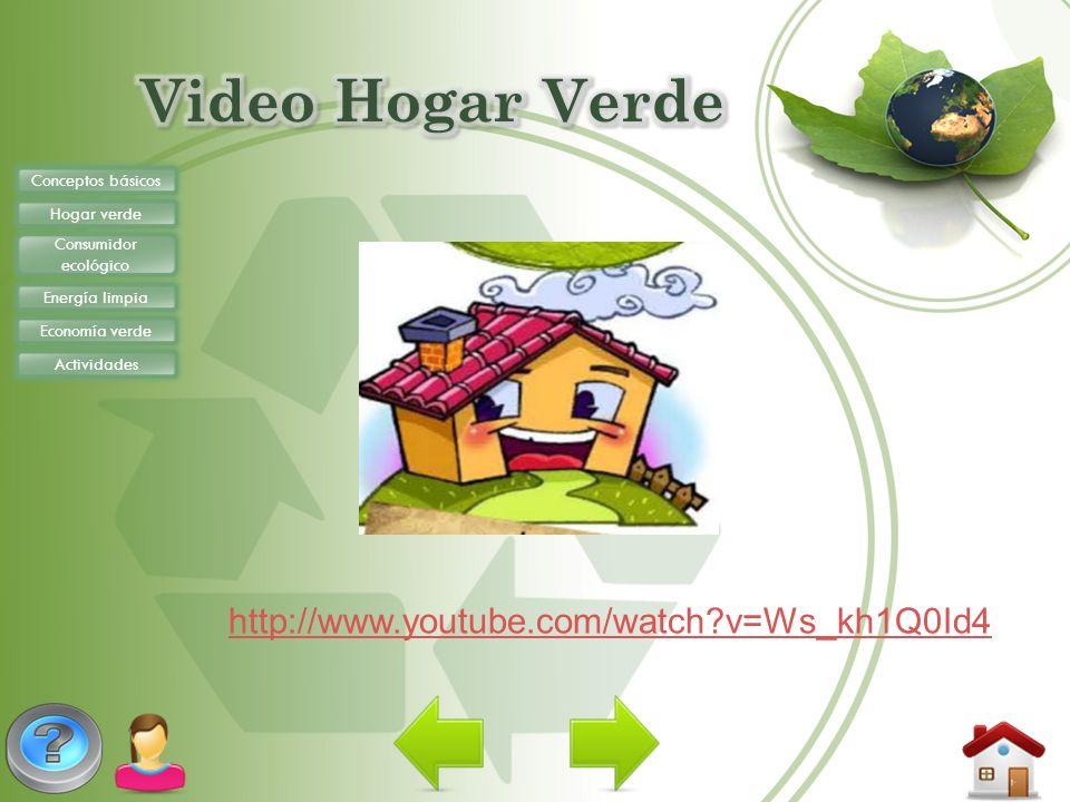 Conceptos básicos Hogar verde Consumidor ecológico Energía limpia Economía verde Actividades http://www.youtube.com/watch?v=Ws_kh1Q0Id4