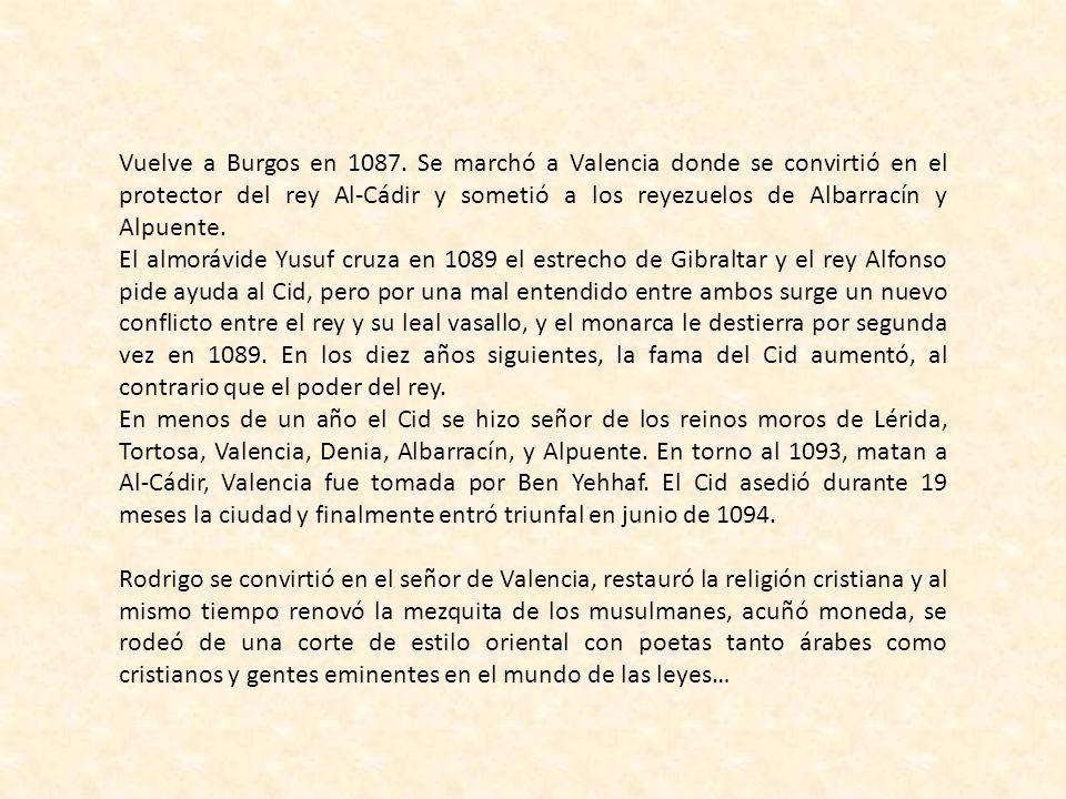 Rodrigo Díaz nació en Vivar, a siete kilómetros de Burgos. Su padre, llamado Diego Laínez, era un noble caballero de la Corte Castellana; y su madre e