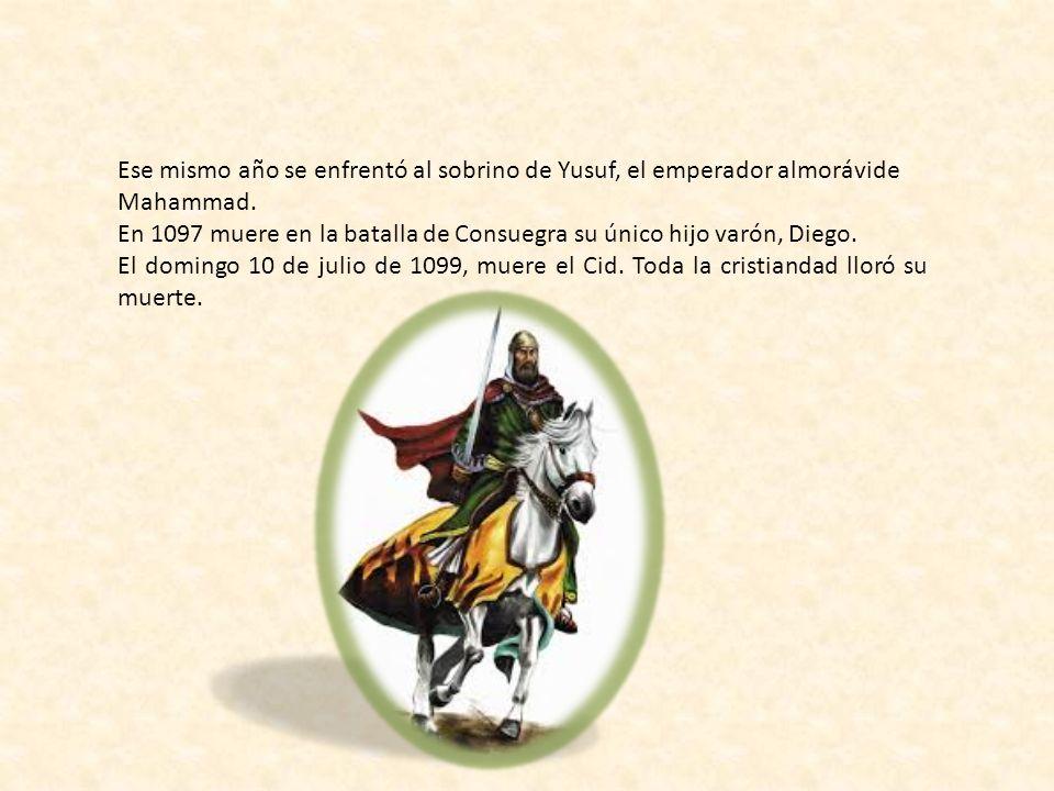 Vuelve a Burgos en 1087. Se marchó a Valencia donde se convirtió en el protector del rey Al-Cádir y sometió a los reyezuelos de Albarracín y Alpuente.