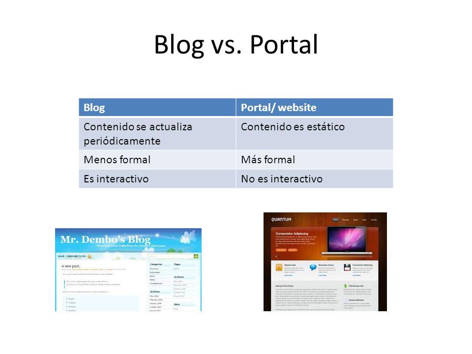 Blog vs. Portal BlogPortal/ website Contenido se actualiza periódicamente Contenido es estático Menos formalMás formal Es interactivoNo es interactivo