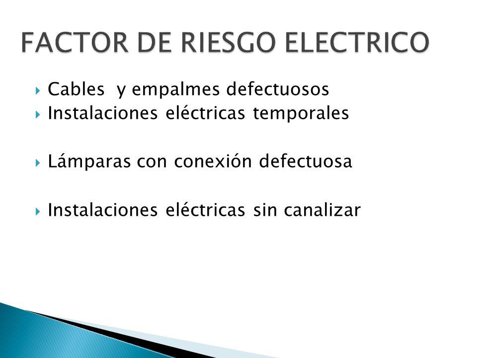 Cables y empalmes defectuosos Instalaciones eléctricas temporales Lámparas con conexión defectuosa Instalaciones eléctricas sin canalizar