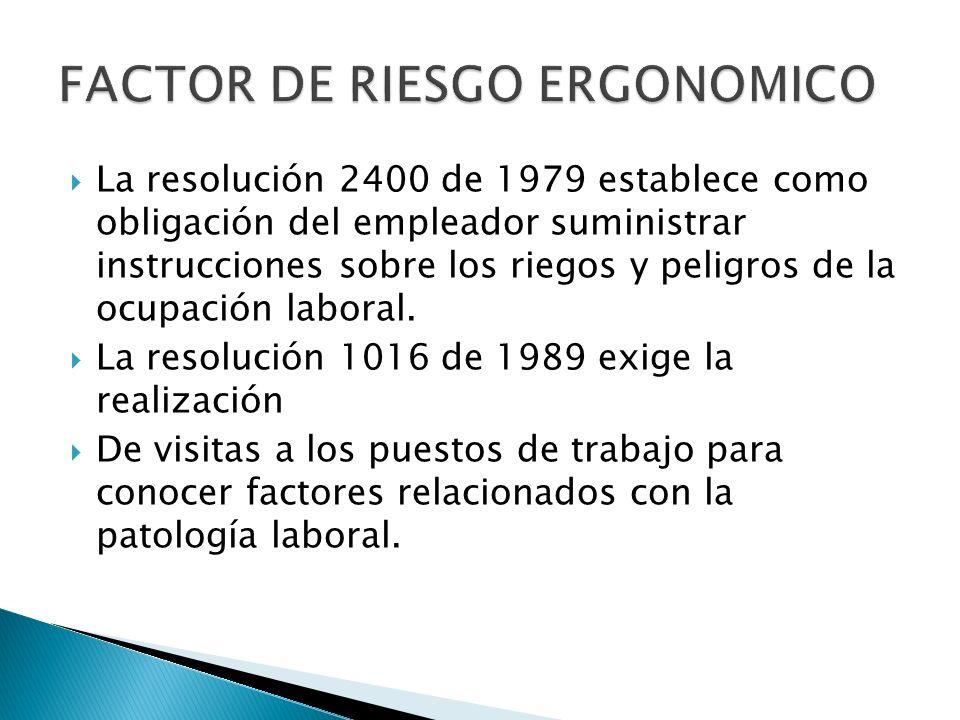 La resolución 2400 de 1979 establece como obligación del empleador suministrar instrucciones sobre los riegos y peligros de la ocupación laboral.