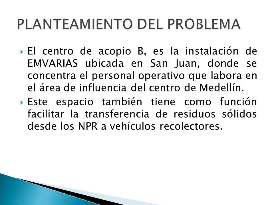 El centro de acopio B, es la instalación de EMVARIAS ubicada en San Juan, donde se concentra el personal operativo que labora en el área de influencia del centro de Medellín.