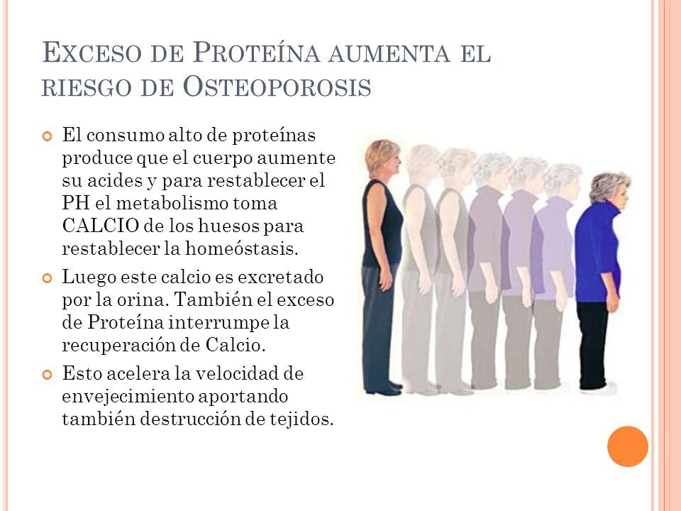 E XCESO DE P ROTEÍNA AUMENTA EL RIESGO DE O STEOPOROSIS El consumo alto de proteínas produce que el cuerpo aumente su acides y para restablecer el PH