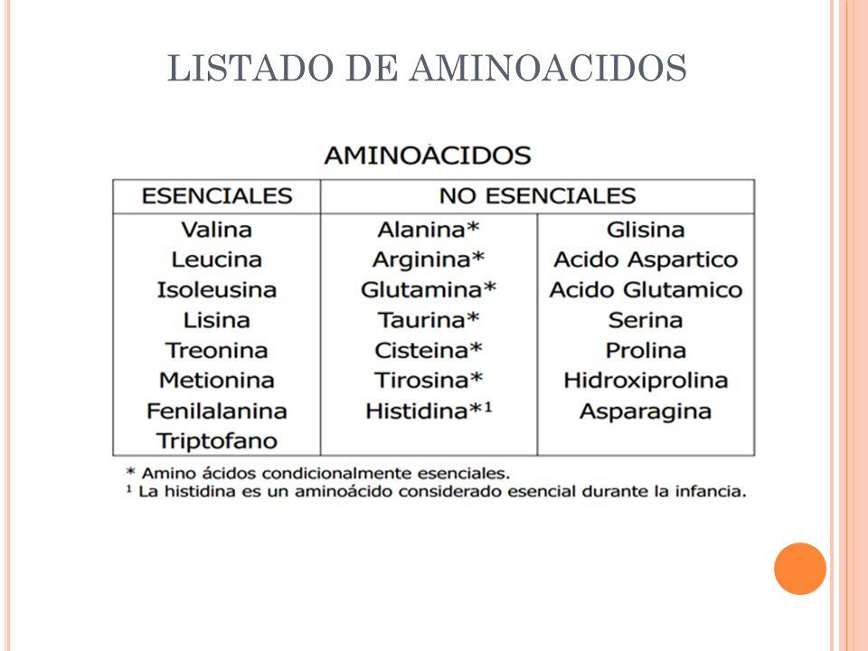 LISTADO DE AMINOACIDOS
