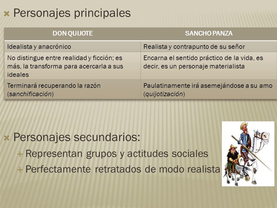 Personajes principales Personajes secundarios: Representan grupos y actitudes sociales Perfectamente retratados de modo realista