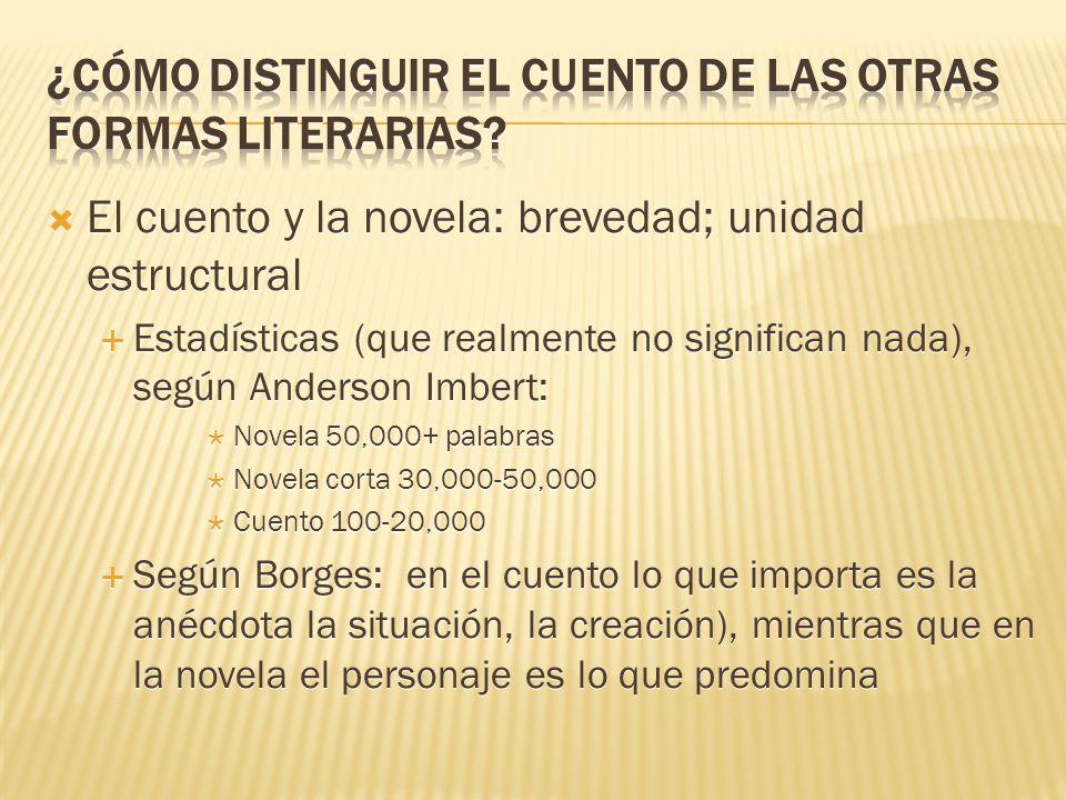 El cuento y la novela: brevedad; unidad estructural Estadísticas (que realmente no significan nada), según Anderson Imbert: Novela 50,000+ palabras No
