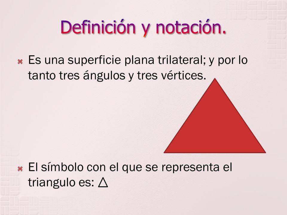 Es una superficie plana trilateral; y por lo tanto tres ángulos y tres vértices. El símbolo con el que se representa el triangulo es: