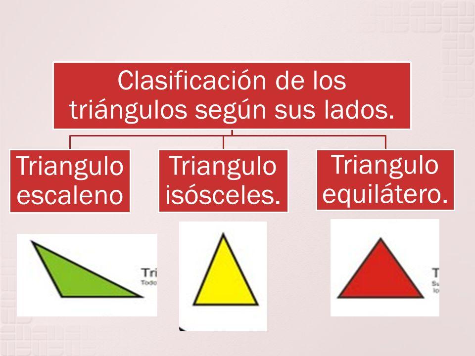Clasificación de los triángulos según sus lados. Triangulo escaleno Triangulo isósceles. Triangulo equilátero.