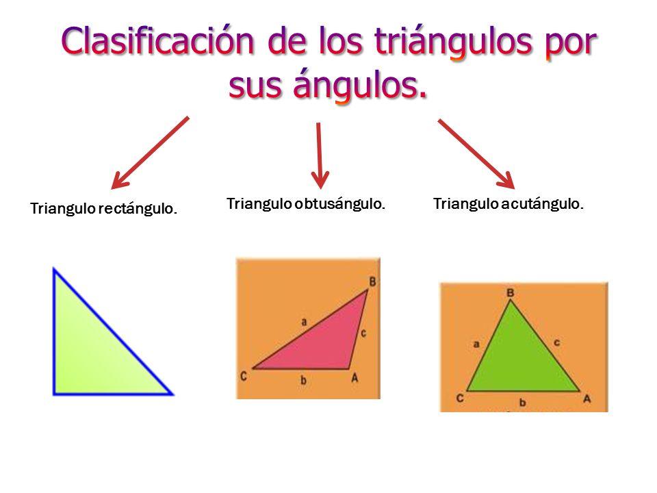 Triangulo rectángulo. Triangulo obtusángulo. Triangulo acutángulo.