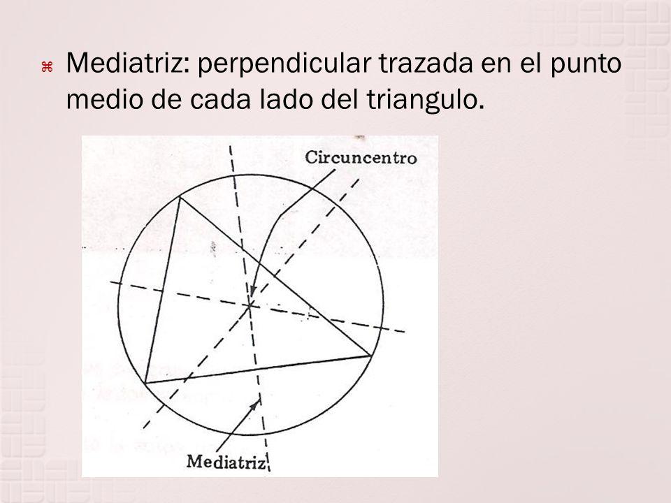 Mediatriz: perpendicular trazada en el punto medio de cada lado del triangulo.