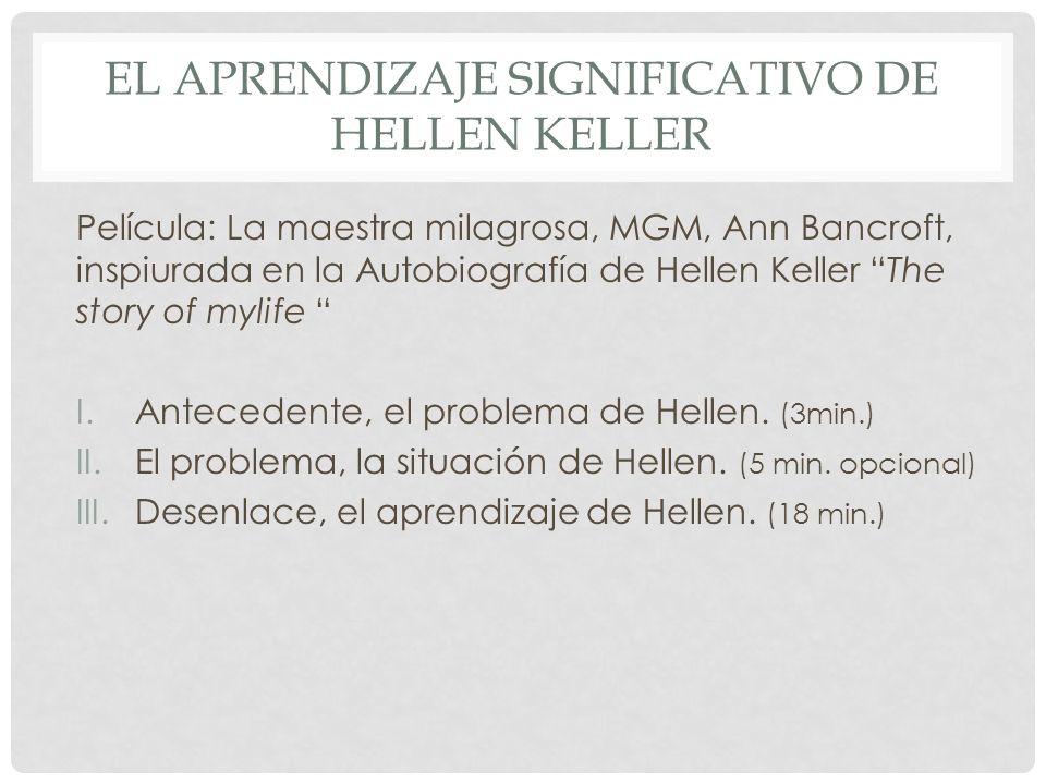 EL APRENDIZAJE SIGNIFICATIVO DE HELLEN KELLER Película: La maestra milagrosa, MGM, Ann Bancroft, inspiurada en la Autobiografía de Hellen Keller The s