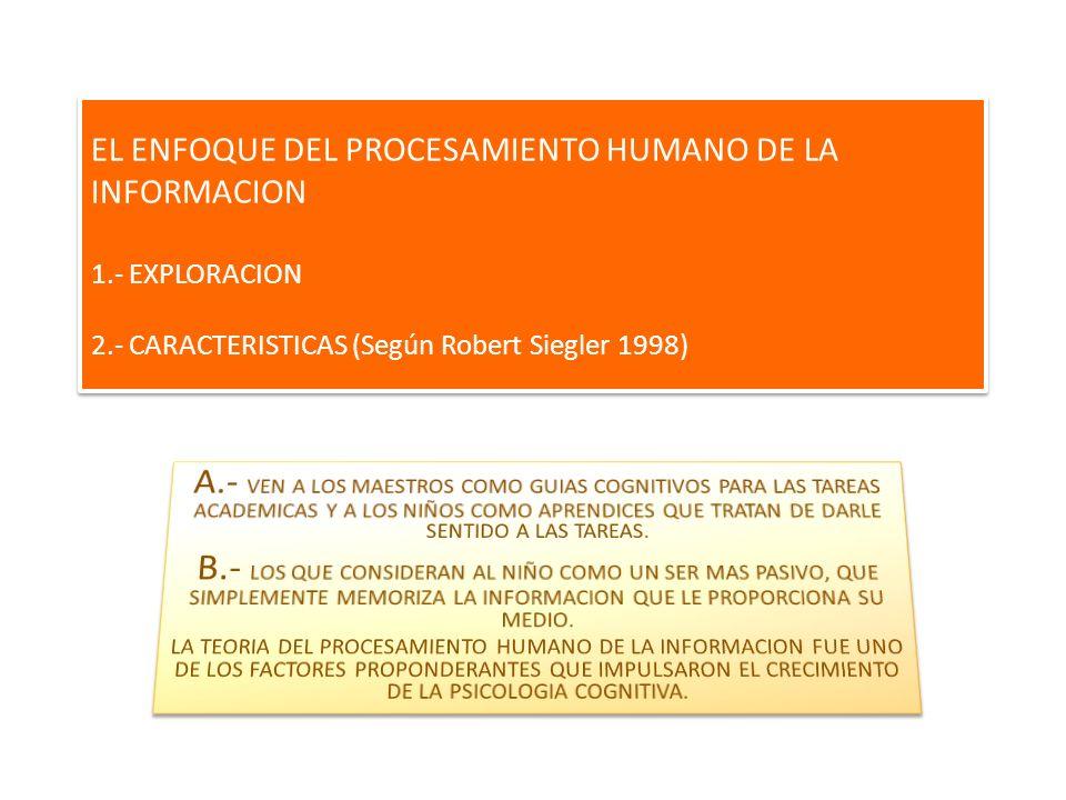 EL ENFOQUE DEL PROCESAMIENTO HUMANO DE LA INFORMACION 1.- EXPLORACION 2.- CARACTERISTICAS (Según Robert Siegler 1998)
