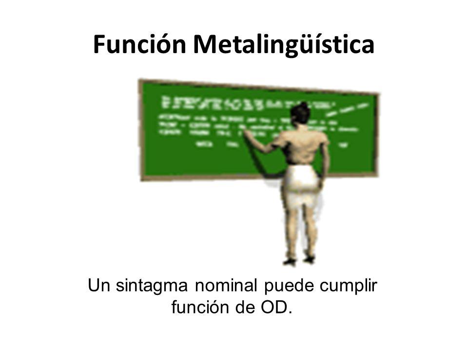Función Metalingüística Un sintagma nominal puede cumplir función de OD.