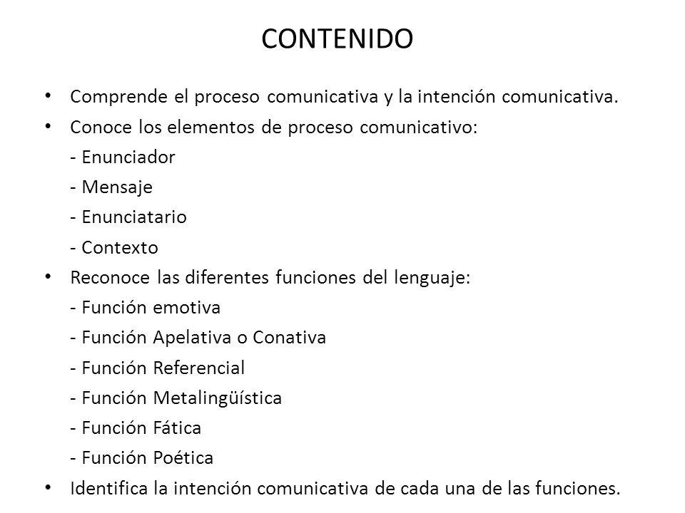 Comprende el proceso comunicativa y la intención comunicativa.