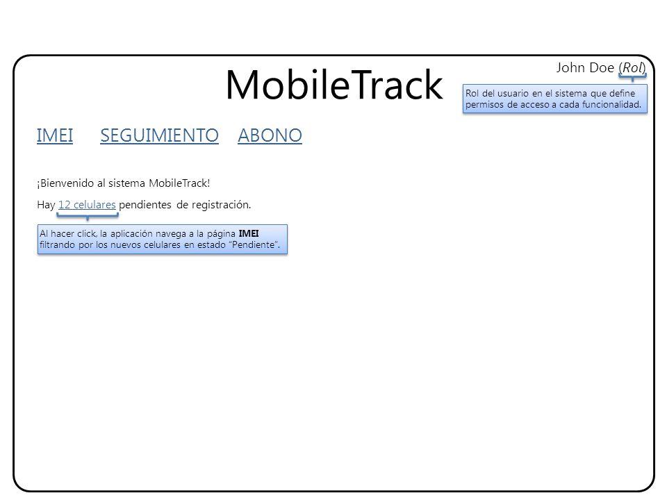 MobileTrack IMEI SEGUIMIENTO ABONO John Doe (Rol) ¡Bienvenido al sistema MobileTrack! Hay 12 celulares pendientes de registración. Al hacer click, la