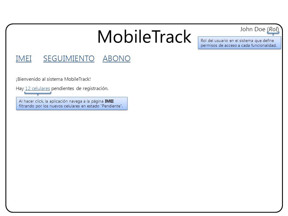 MobileTrack IMEI SEGUIMIENTO ABONO John Doe (Rol) ¡Bienvenido al sistema MobileTrack.