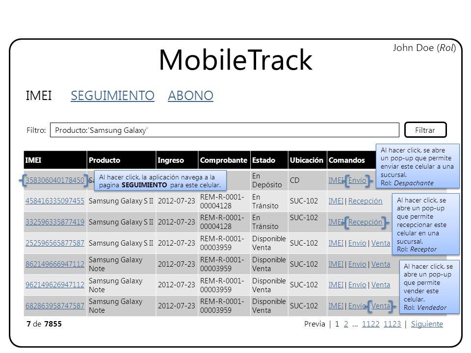 MobileTrack IMEI SEGUIMIENTO ABONO John Doe (Rol) IMEIProductoIngresoComprobanteEstadoUbicaciónComandos 358306040178450Samsung Galaxy S II2012-07-23OC-901 En Depósito CDIMEI | Envío 458416335097455Samsung Galaxy S II2012-07-23 REM-R-0001- 00004128 En Tránsito SUC-102IMEI | Recepción 332596335877419Samsung Galaxy S II2012-07-23 REM-R-0001- 00004128 En Tránsito SUC-102 IMEI | Recepción 252596565877587Samsung Galaxy S II2012-07-23 REM-R-0001- 00003959 Disponible Venta SUC-102IMEI | Envío | Venta 862149666947112 Samsung Galaxy Note 2012-07-23 REM-R-0001- 00003959 Disponible Venta SUC-102IMEI | Envío | Venta 962149626947112 Samsung Galaxy Note 2012-07-23 REM-R-0001- 00003959 Disponible Venta SUC-102IMEI | Envío | Venta 682863958747587 Samsung Galaxy Note 2012-07-23 REM-R-0001- 00003959 Disponible Venta SUC-102IMEI | Envío | Venta Filtro: Producto: Samsung Galaxy Filtrar 7 de 7855Previa | 1 2 … 1122 1123 | Siguiente Al hacer click, se abre un pop-up que permite enviar este celular a una sucursal.