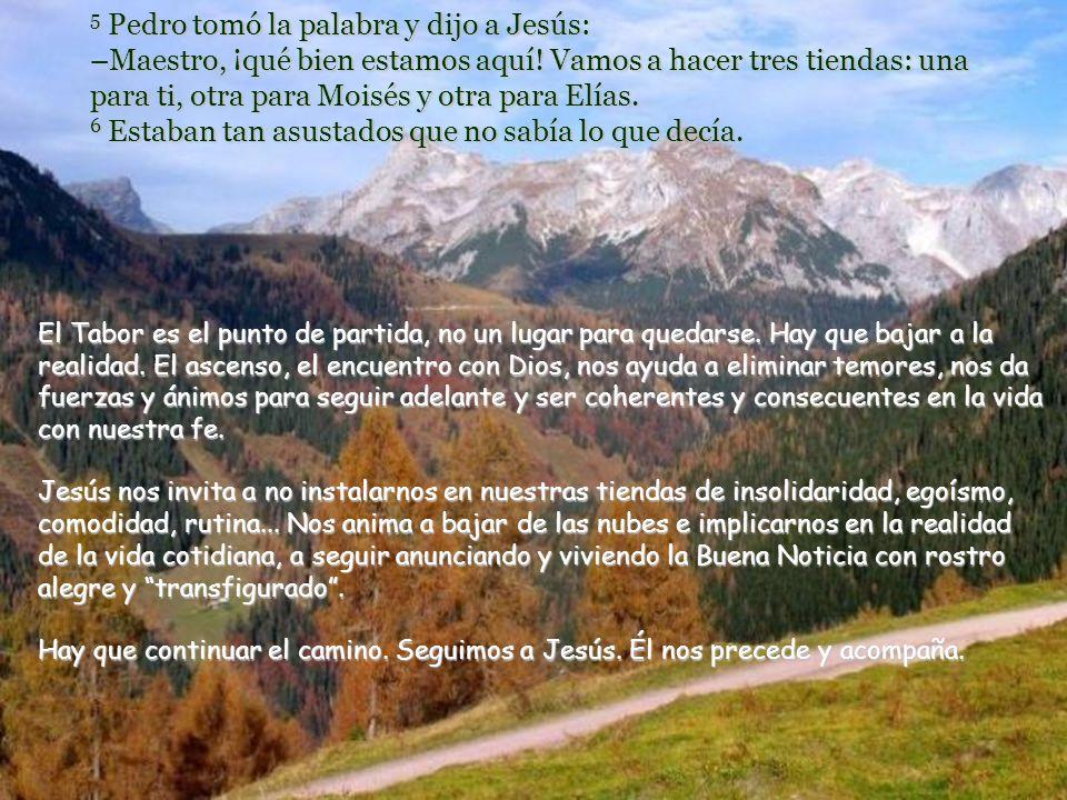 2 Seis días después, Jesús tomó consigo a Pedro, a Santiago y a Juan, los llevó a solas a un monte alto y se transfiguró ante ellos. 3 Sus vestidos se