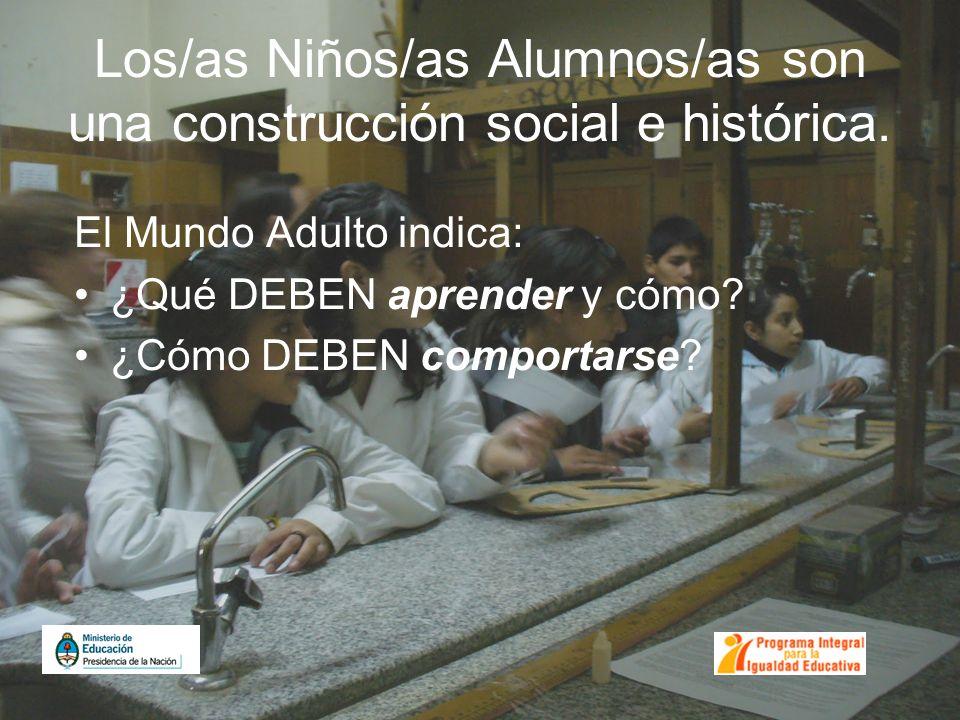 Los/as Niños/as Alumnos/as son una construcción social e histórica. El Mundo Adulto indica: ¿Qué DEBEN aprender y cómo? ¿Cómo DEBEN comportarse?