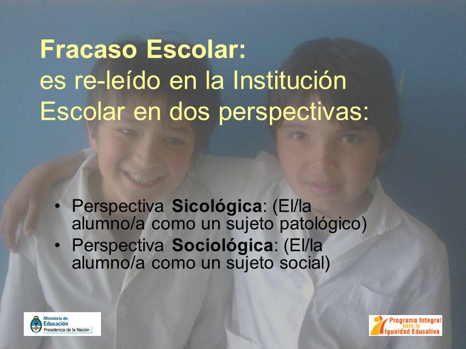 Fracaso Escolar: es re-leído en la Institución Escolar en dos perspectivas: Perspectiva Sicológica: (El/la alumno/a como un sujeto patológico) Perspec