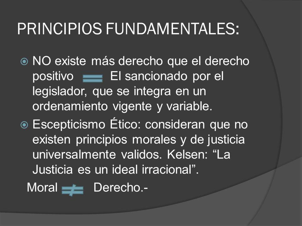 PRINCIPIOS FUNDAMENTALES: NO existe más derecho que el derecho positivo El sancionado por el legislador, que se integra en un ordenamiento vigente y v