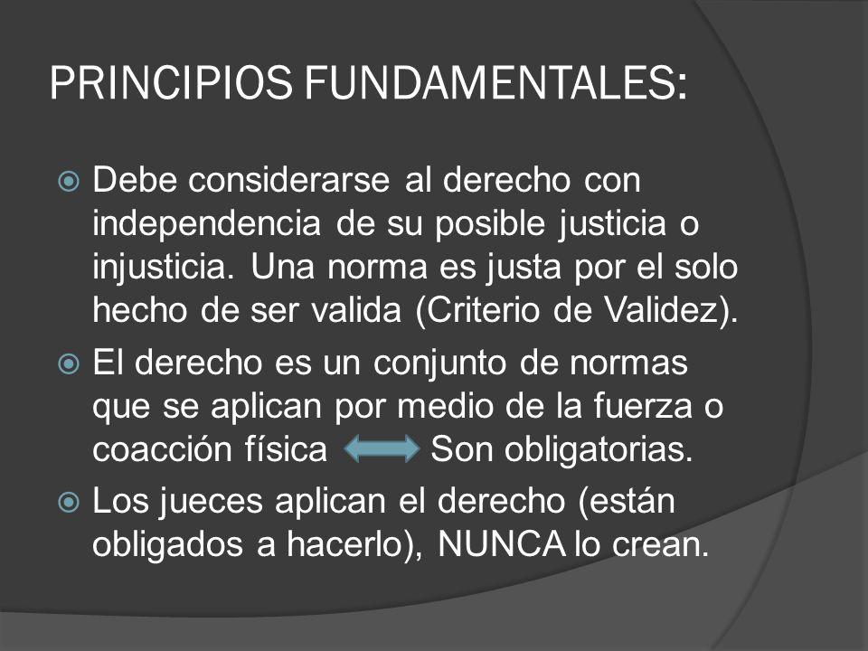 PRINCIPIOS FUNDAMENTALES: Debe considerarse al derecho con independencia de su posible justicia o injusticia. Una norma es justa por el solo hecho de