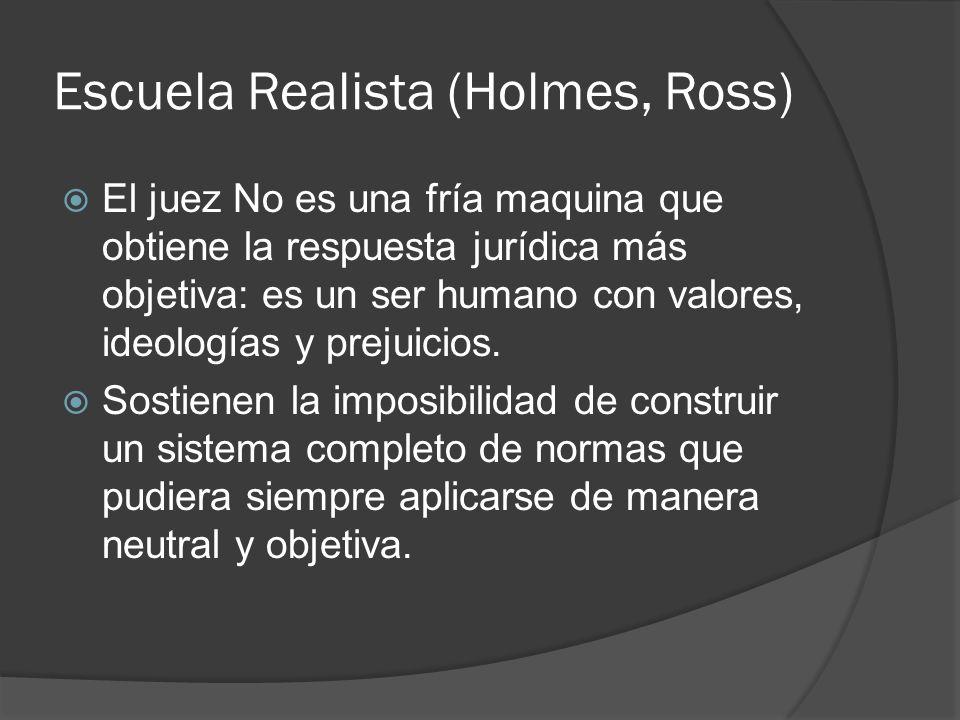 Escuela Realista (Holmes, Ross) El juez No es una fría maquina que obtiene la respuesta jurídica más objetiva: es un ser humano con valores, ideología