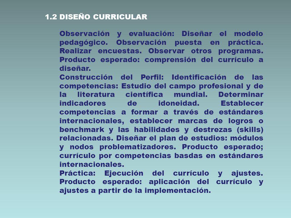 1.2 DISEÑO CURRICULAR Observación y evaluación: Diseñar el modelo pedagógico. Observación puesta en práctica. Realizar encuestas. Observar otros progr