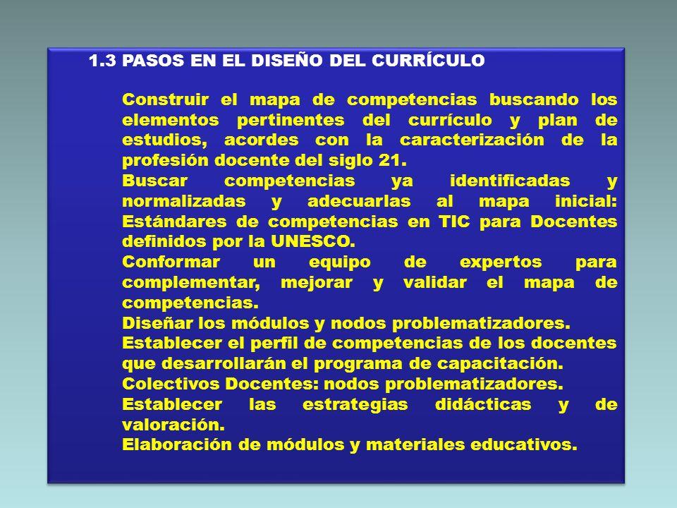 1.3 PASOS EN EL DISEÑO DEL CURRÍCULO Construir el mapa de competencias buscando los elementos pertinentes del currículo y plan de estudios, acordes co