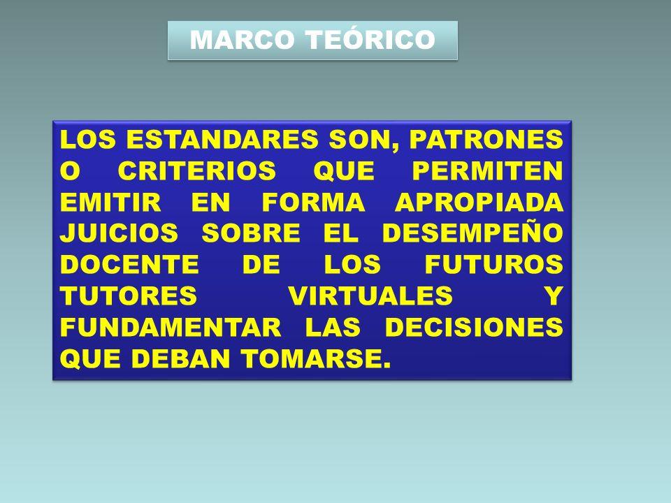 MARCO TEÓRICO LOS ESTANDARES SON, PATRONES O CRITERIOS QUE PERMITEN EMITIR EN FORMA APROPIADA JUICIOS SOBRE EL DESEMPEÑO DOCENTE DE LOS FUTUROS TUTORE