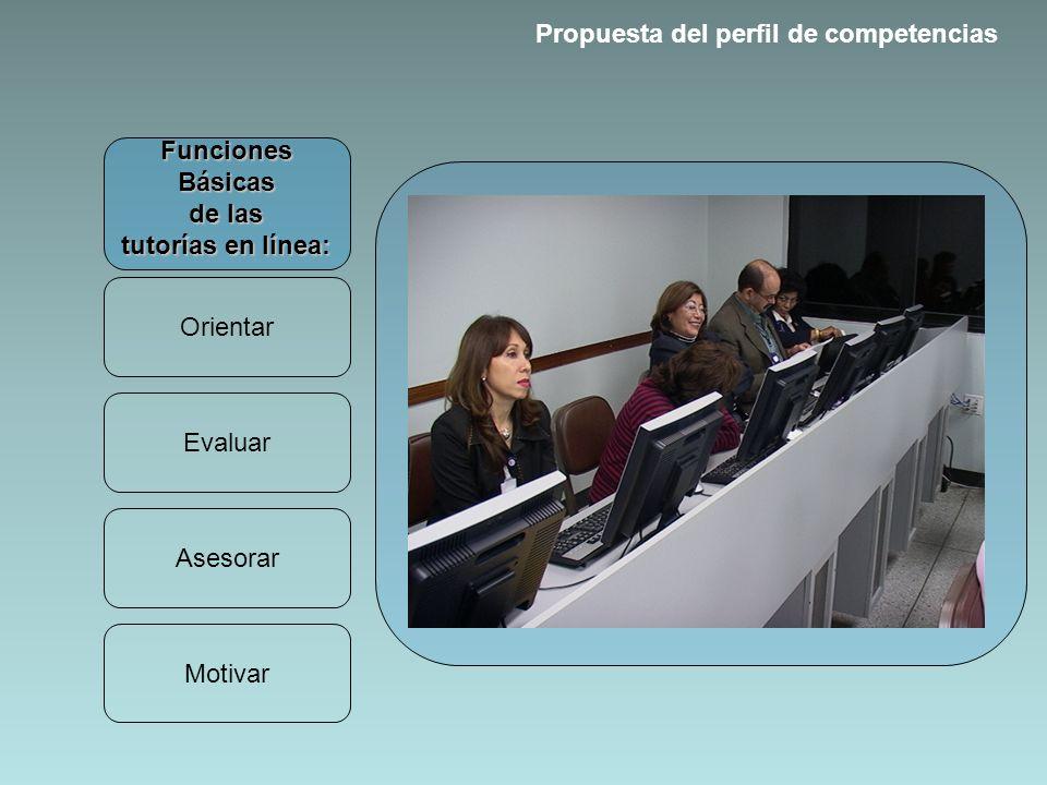 Funciones Básicas de las tutorías en línea: Orientar Evaluar Asesorar Motivar Propuesta del perfil de competencias