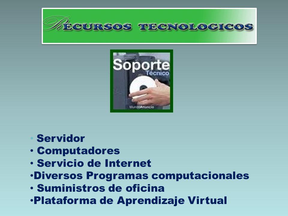 Servidor Computadores Servicio de Internet Diversos Programas computacionales Suministros de oficina Plataforma de Aprendizaje Virtual