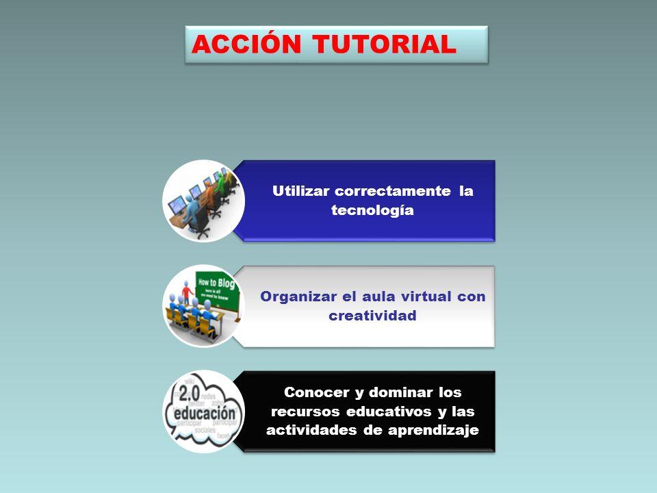 Utilizar correctamente la tecnología Organizar el aula virtual con creatividad Conocer y dominar los recursos educativos y las actividades de aprendiz
