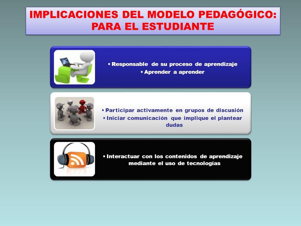 IMPLICACIONES DEL MODELO PEDAGÓGICO: PARA EL ESTUDIANTE IMPLICACIONES DEL MODELO PEDAGÓGICO: PARA EL ESTUDIANTE Responsable de su proceso de aprendiza