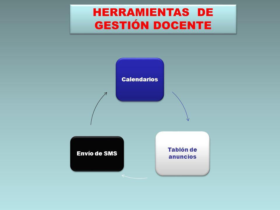 HERRAMIENTAS DE GESTIÓN DOCENTE Calendarios Tablón de anuncios Envío de SMS