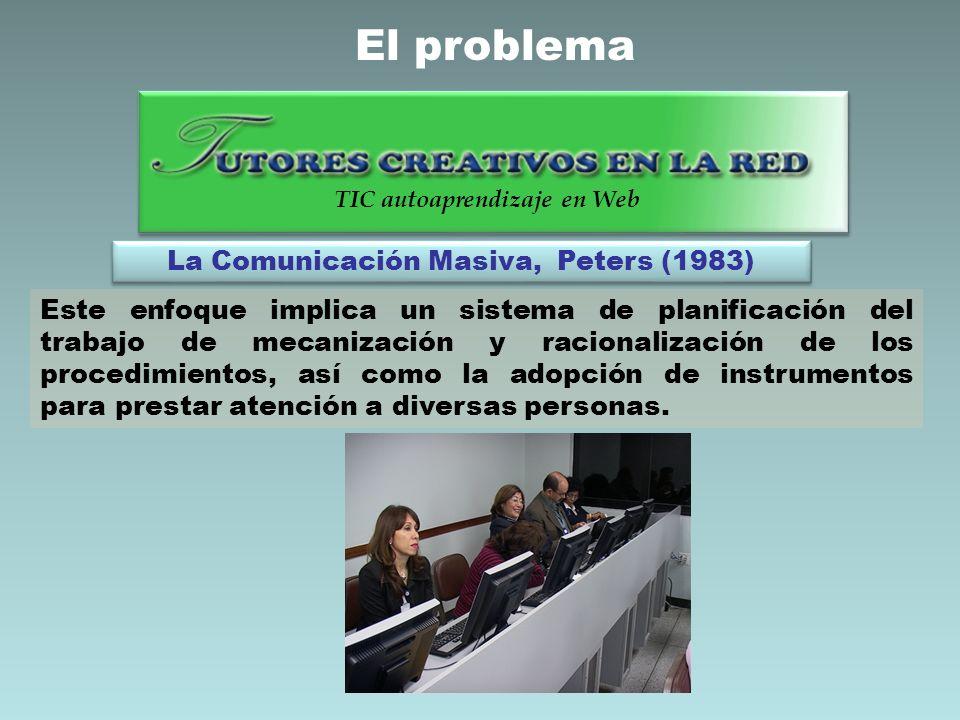 La Comunicación Masiva, Peters (1983) Este enfoque implica un sistema de planificación del trabajo de mecanización y racionalización de los procedimie