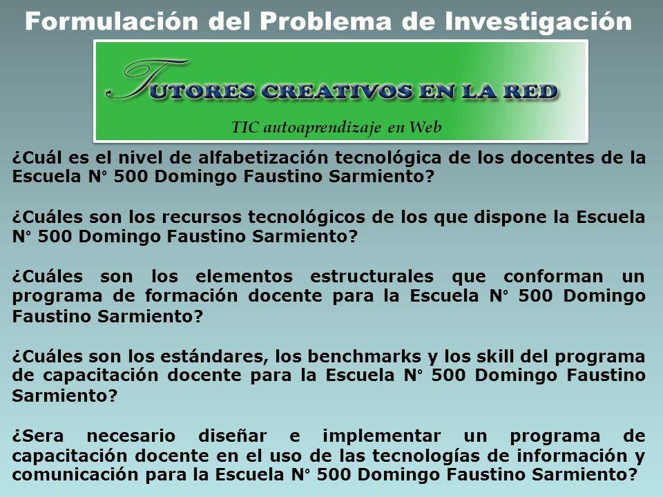 Formulación del Problema de Investigación ¿Cuál es el nivel de alfabetización tecnológica de los docentes de la Escuela N° 500 Domingo Faustino Sarmie