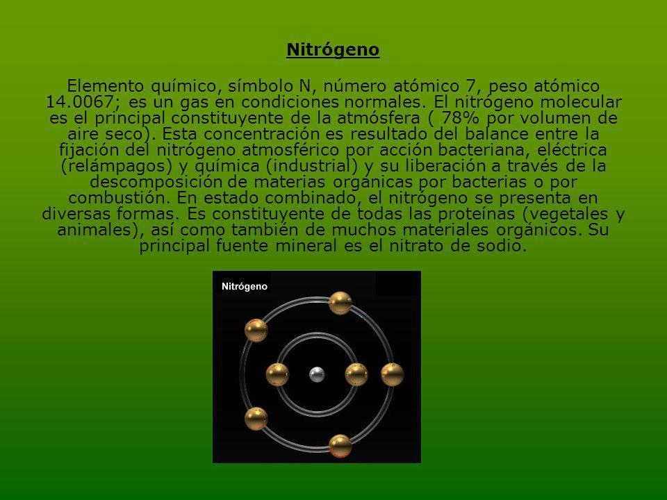 Nitrógeno Elemento químico, símbolo N, número atómico 7, peso atómico 14.0067; es un gas en condiciones normales.
