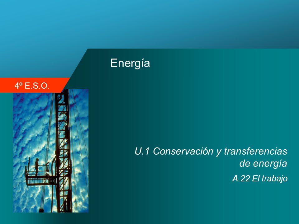 4º E.S.O. Energía U.1 Conservación y transferencias de energía A.22 El trabajo