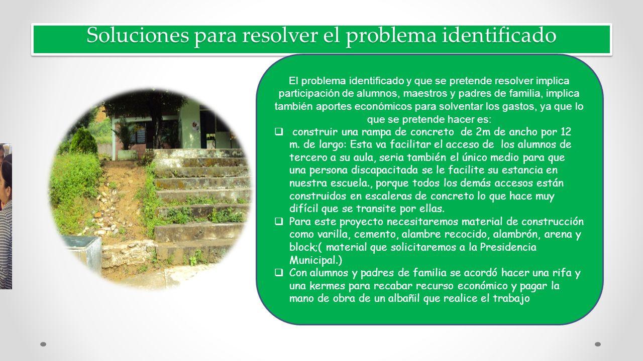 Soluciones para resolver el problema identificado El problema identificado y que se pretende resolver implica participación de alumnos, maestros y pad