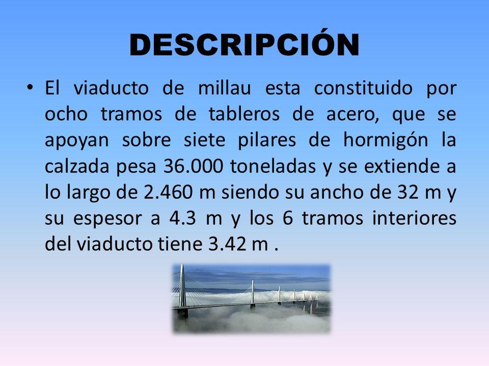 DESCRIPCIÓN El viaducto de millau esta constituido por ocho tramos de tableros de acero, que se apoyan sobre siete pilares de hormigón la calzada pesa 36.000 toneladas y se extiende a lo largo de 2.460 m siendo su ancho de 32 m y su espesor a 4.3 m y los 6 tramos interiores del viaducto tiene 3.42 m.