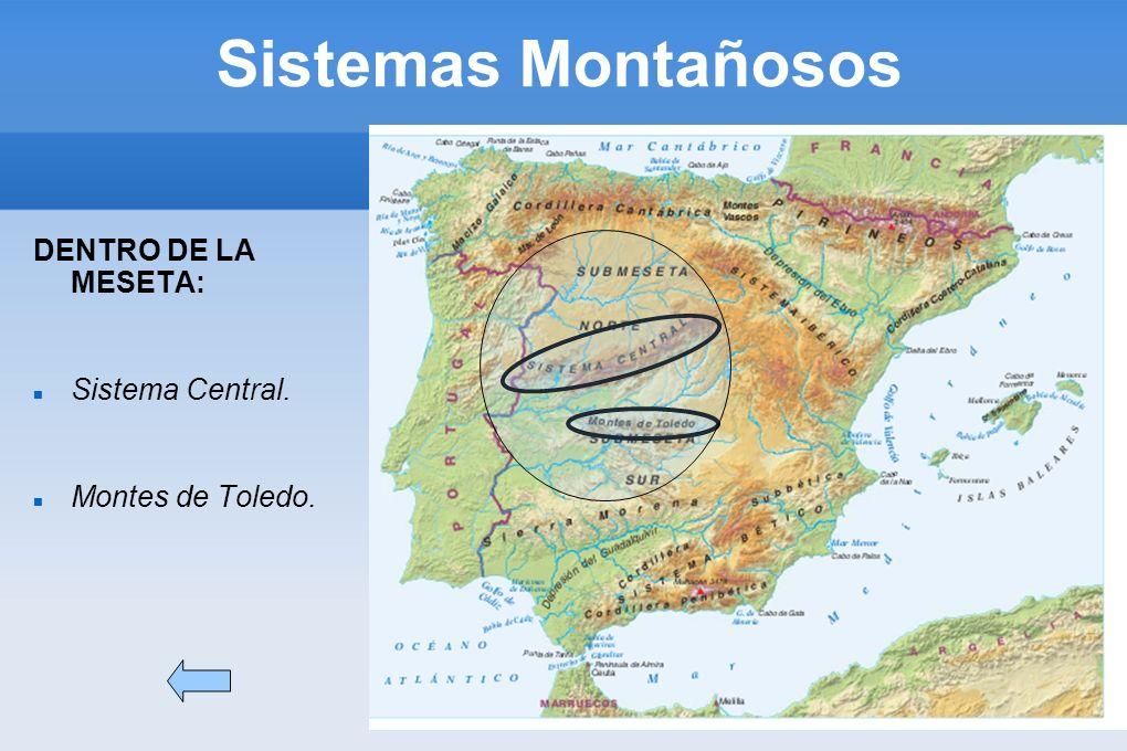 Sistemas Montañosos DENTRO DE LA MESETA: Sistema Central. Montes de Toledo.
