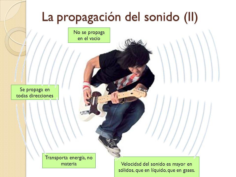 La propagación del sonido (I) El sonido, al contrario que la luz que podía propagarse en el vacío, éste sí necesita de un medio material para propagar