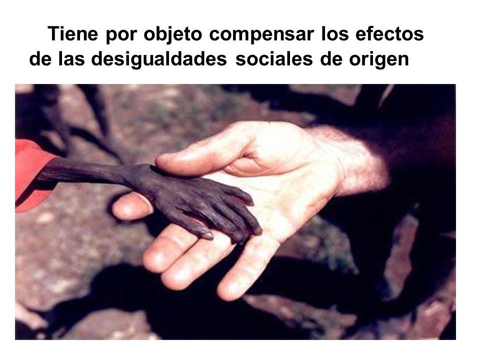 Tiene por objeto compensar los efectos de las desigualdades sociales de origen