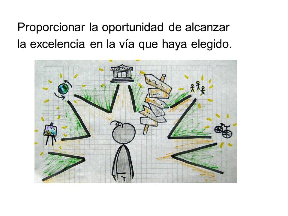 Proporcionar la oportunidad de alcanzar la excelencia en la vía que haya elegido.