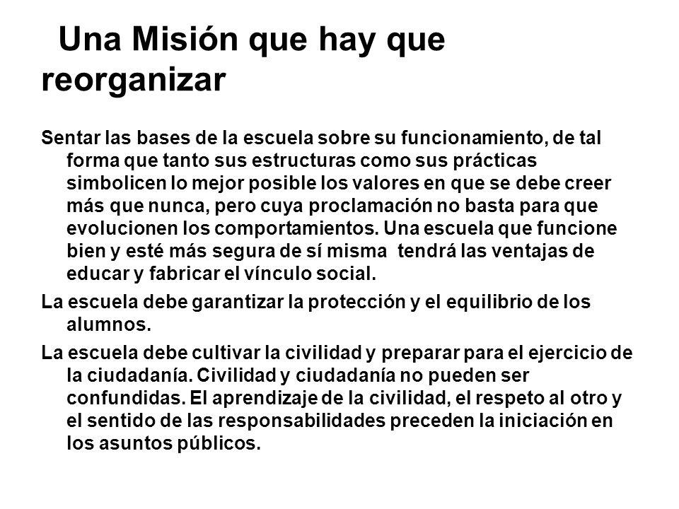 Una Misión que hay que reorganizar Sentar las bases de la escuela sobre su funcionamiento, de tal forma que tanto sus estructuras como sus prácticas s