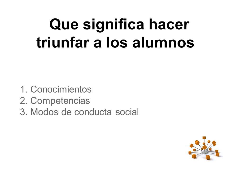 Que significa hacer triunfar a los alumnos 1.Conocimientos 2.Competencias 3.Modos de conducta social