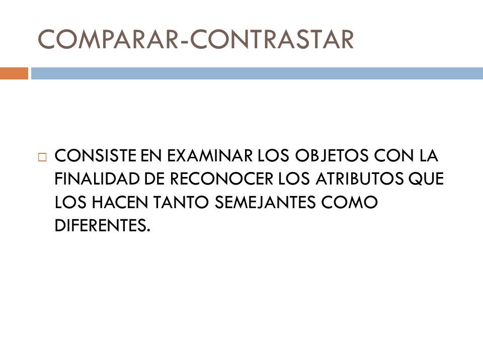 COMPARAR-CONTRASTAR CONSISTE EN EXAMINAR LOS OBJETOS CON LA FINALIDAD DE RECONOCER LOS ATRIBUTOS QUE LOS HACEN TANTO SEMEJANTES COMO DIFERENTES.