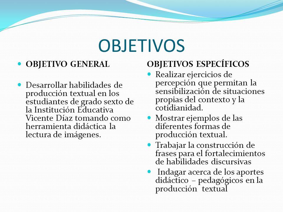 OBJETIVOS OBJETIVO GENERAL Desarrollar habilidades de producción textual en los estudiantes de grado sexto de la Institución Educativa Vicente Díaz tomando como herramienta didáctica la lectura de imágenes.